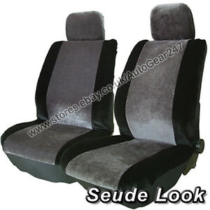 Image Is Loading Grey Suede Look Front Alpha Car Seat Covers