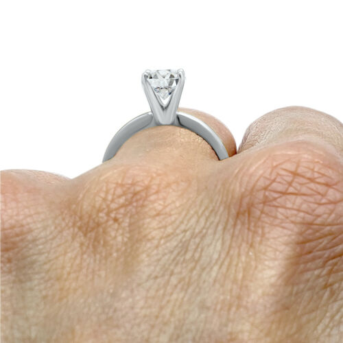 CZ Cubic Zirconia solitaire ring 4 prong 14k White Gold engagement ring
