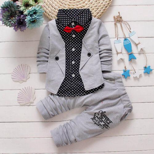 Winter Kids Baby Boy Gentleman Shirt Tops+Long Pants Formal Party Clothes Set KY