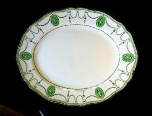 Beautiful-Royal-Doulton-Countess-Green-Rim-Large-Oval-Platter-Circa-1920