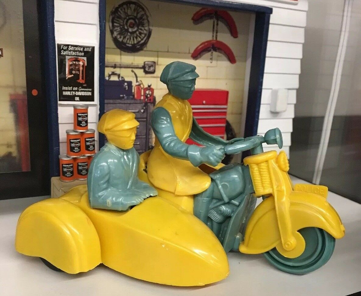 Antique Nesco Motorcycle Toy RARE  Harley Indian sidecar bluee & yellow MINT