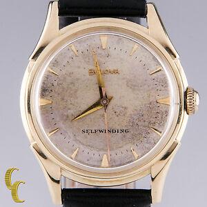 Bulova-14k-Yellow-Gold-Vintage-1956-Self-Winding-Automatic-Men-039-s-Watch