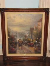 "Thomas Kinkade ""Hyde Street and the Bay"" Canvas 20""x24"" 1469/3950 Signed Framed"