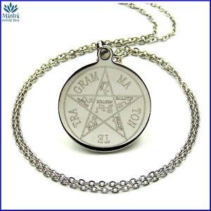 Talismano amuleto tetragrammaton da uomo donna con collana pentagramma Salomone