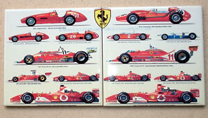 SET-OF-2-Ferrari-formula-1-Champions-1950-2006-TRIBUTE-CERAMIC-TILE
