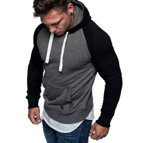 UK Mens Hooded Top Sweatshirt Long Sleeve Muscle Slim Fit Hoodie Sweat Outwear