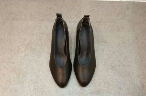 Handmade Women Leather Mid Pumps Square Point Toe Matters Classic Block Heel