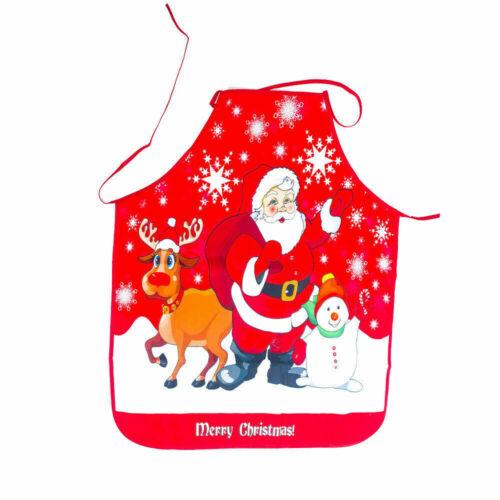 Christmas Apron Kitchen Cooking Bib Aprons Unisex Santa Claus Xmas Party Decor b