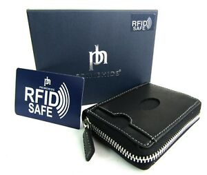 Unisex Rfid Blocking Zip-around Real Leather Concertina Credit Card Holder Boxed Kleidung & Accessoires Herren-accessoires
