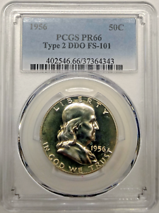 PR66 1956 TYPE 2 PCGS GRADED FRANKLIN 90/% SILVER HALF DOLLAR 50C PROOF RARE COIN
