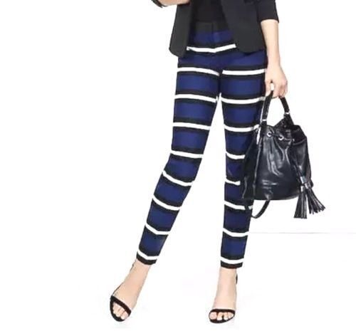 EXPRESS 2 STRIPED BLUE BLACK WHITE ANKLE EDITOR PANTS cropped crop