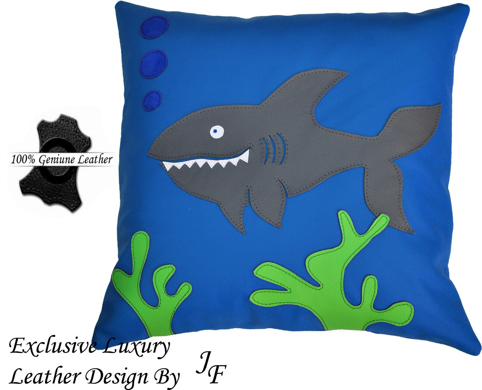 Le exclusif luxe exclusif Le en cuir véritable coussin pour salle de jeux la vie de mer bleu requin b072e8