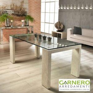 Tavolo da pranzo 180x90x76CM MILLERIGHE Stones con piano in vetro ...