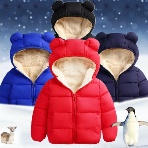 Toddler Kids Baby Boys Girls Hooded Coat Jacket Winter Kids Thick Warm Outwear