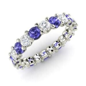 2-54-Ct-Natural-Tanzanite-Eternity-Engagement-Ring-14K-White-Gold-Diamond-Size-M
