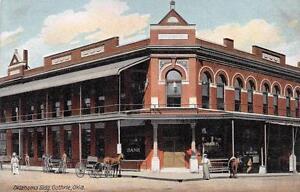 GUTHRIE-OK-Bank-Building-Oklahoma-Street-Scene-Vintage-Postcard-ca-1910s