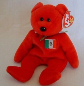7ec95fdade0 TY Beanie Baby MEXICO Flag Red BEAR 1999 OSITO Retired Collectible ...