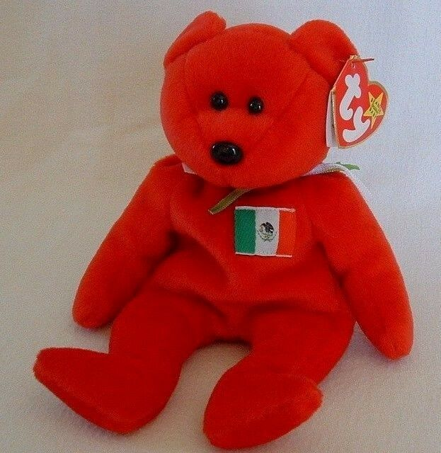 5f83c0cd8df Ty Beanie Baby Mexico Flag Red Bear 1999 Osito Retired Collectible Rio  Grande for sale online