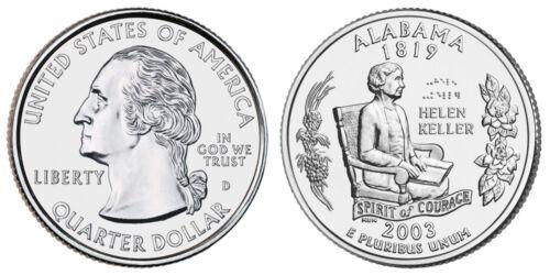 United States 1//4 Dollar Alabama D 2003 Hellen Keller Quarter 25 cents UNC
