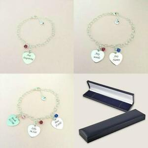 5fee5ad6a712e Details about Silver Charm Bracelet with Childrens Names Engraved on Hearts  and Birthstones.