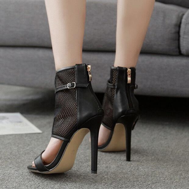 Sandalei estivi stivali estivi Sandalei tacco stiletto 11 cm nero simil pelle eleganti 9713 1c7199