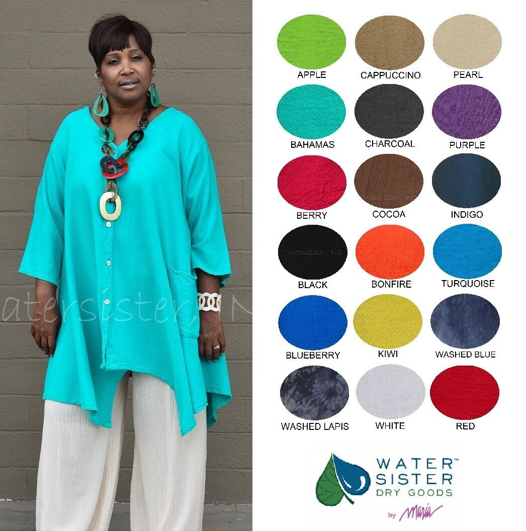 WATERSISTER Cotton Gauze  ARIANA Sharkbite CARDIE Top OS (M-1X 2X)  2018 FarbeS