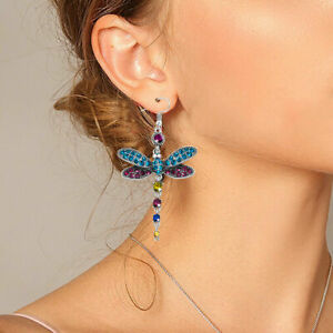Gorgeous-colors-dragonfly-crystal-rhinestone-silver-plated-hook-earrings-fashion