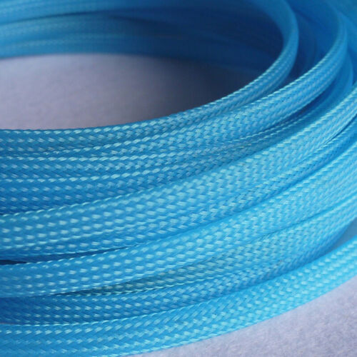Ø3~40mm Fluorescent Blue PET Braided Sleeving Expandable Cable Harness Sheathing