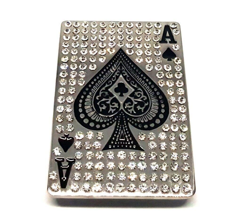 KING OF SKULLS CARDS BELT BUCKLE GOTHIC BIKER ROCK GAMBLER FIT SNAP BELT