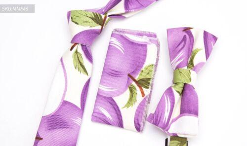 Fashion 3 pièces Hommes Coton Lin Cravate Lot Nœud Papillon Mouchoir Poche Floral Cravate