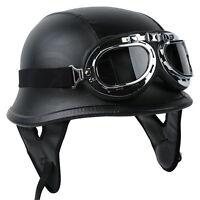 Dot German Black Leather Motorcycle Half Helmet Biker With Pilot Goggles M L Xl