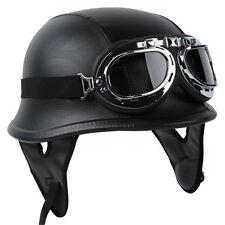 DOT German Black Leather Motorcycle Half Face Helmet Biker Pilot Goggles M L XL