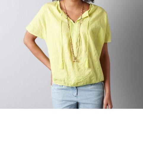 SP NWT Ann Taylor Loft Cotton Tie Neck Bubble Hem Capelet Blouse Top Size XSP