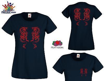 Lady T-Shirt mit Drachenmotiv  - Rundhals & V-Neck, Flexdruck
