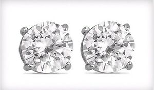 Details About 2 Carat Pair White Topaz Stud Sterling Silver Set G Earrings New Great Gift