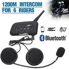 1x 1200M BT Bluetooth Motorcycle Motorbike Helmet Interphone Headset V6 Intercom