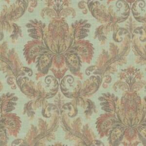 Wallpaper-Designer-Large-Gold-Tan-Olive-Coral-Faux-Tapestry-Damask-on-Sage-Green