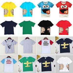 tout-petit-enfants-garcons-dessin-anime-Haut-T-shirt-decontracte-manches-courtes