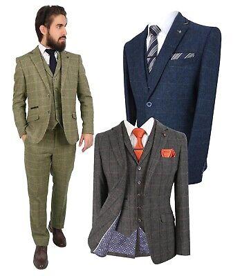 Paul Andrew Mens Grey Black 3 Piece Tweed Suit Herringbone Wine Vintage Retro Peaky Blinders Charcoal
