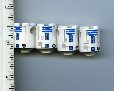 Lego Star Wars R2-D2 Brick Round 2 x 2 Dome Top w// Silver Blue Pattern Lot of 2