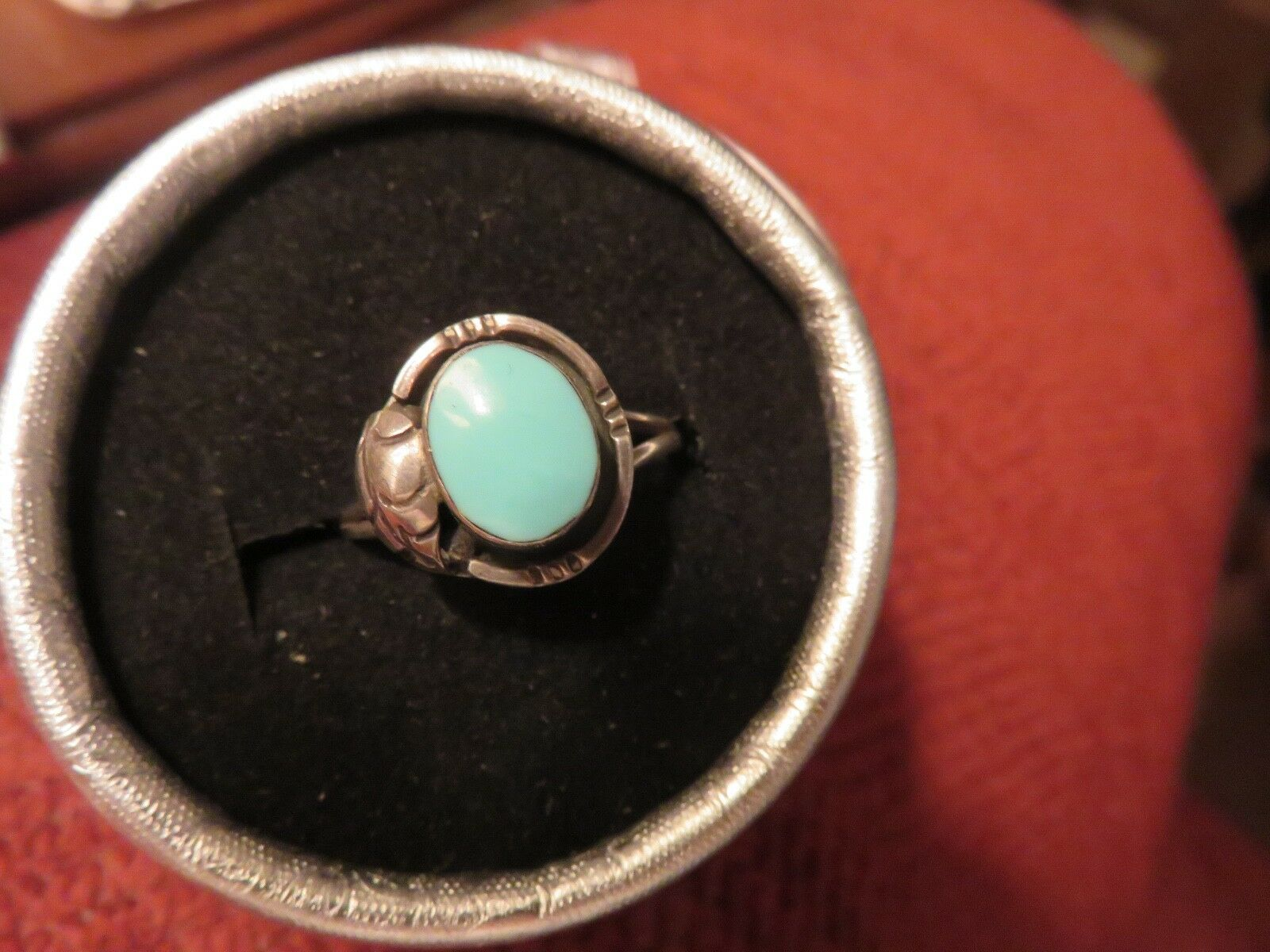 Oval shaped Mexican turquoise ring size 9 3 4