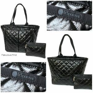 LeSportsac-Black-Crinkle-Quilted-Patent-EveryGirl-Tote-Cosmetic-Bag-Free-Ship