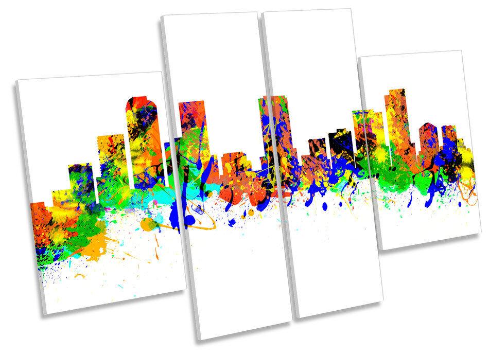 Denver Stadt Skyline Farbeado Modern CANVAS Wand Kunst MULTI Panel Bild Drucken