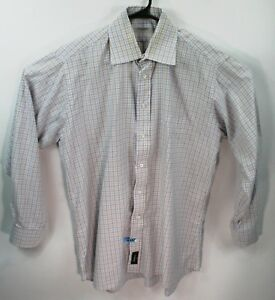 2439b290d Burberry London white blue brown men's dress shirt Size 16.5 R ...