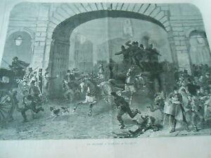 Gravure 1870 - Un Incendie à Londres Les Pompiers Promouvoir La Production De Fluide Corporel Et De Salive