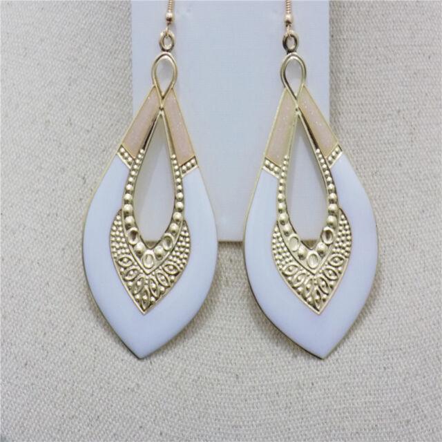 Hfh Charm Women Drop Earrings Fashion Gold Plated Enamel Hook Dangle Earrings