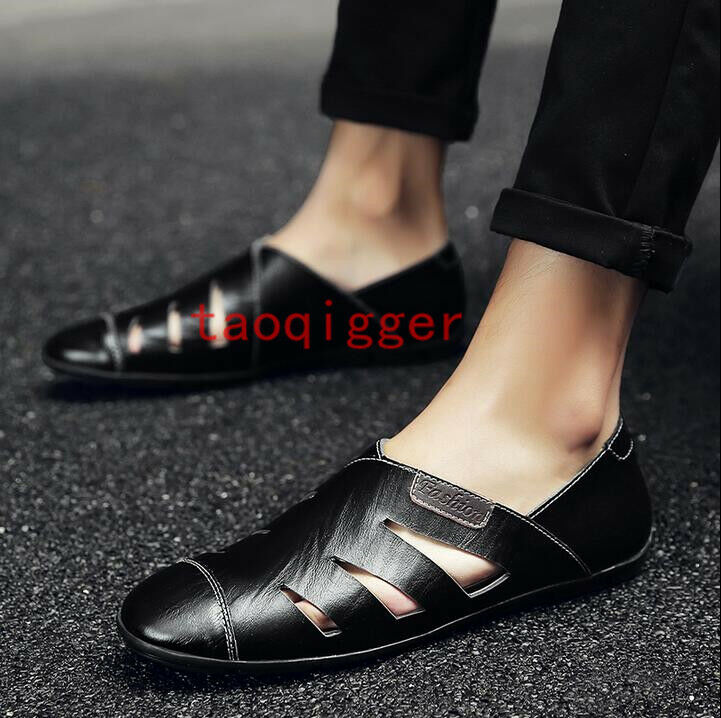 Stylish Summer Flats Mens Driving Loafers Hollow Out Beach Casual Sandals Shoes