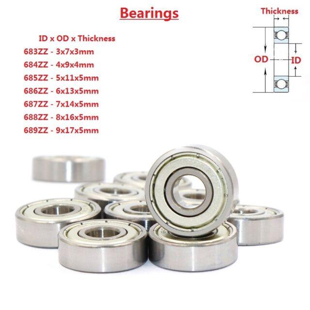 10 PCS 686ZZ 6x13x5 mm Metal Shielded Ball Bearing Bearings 686z 6*13*5