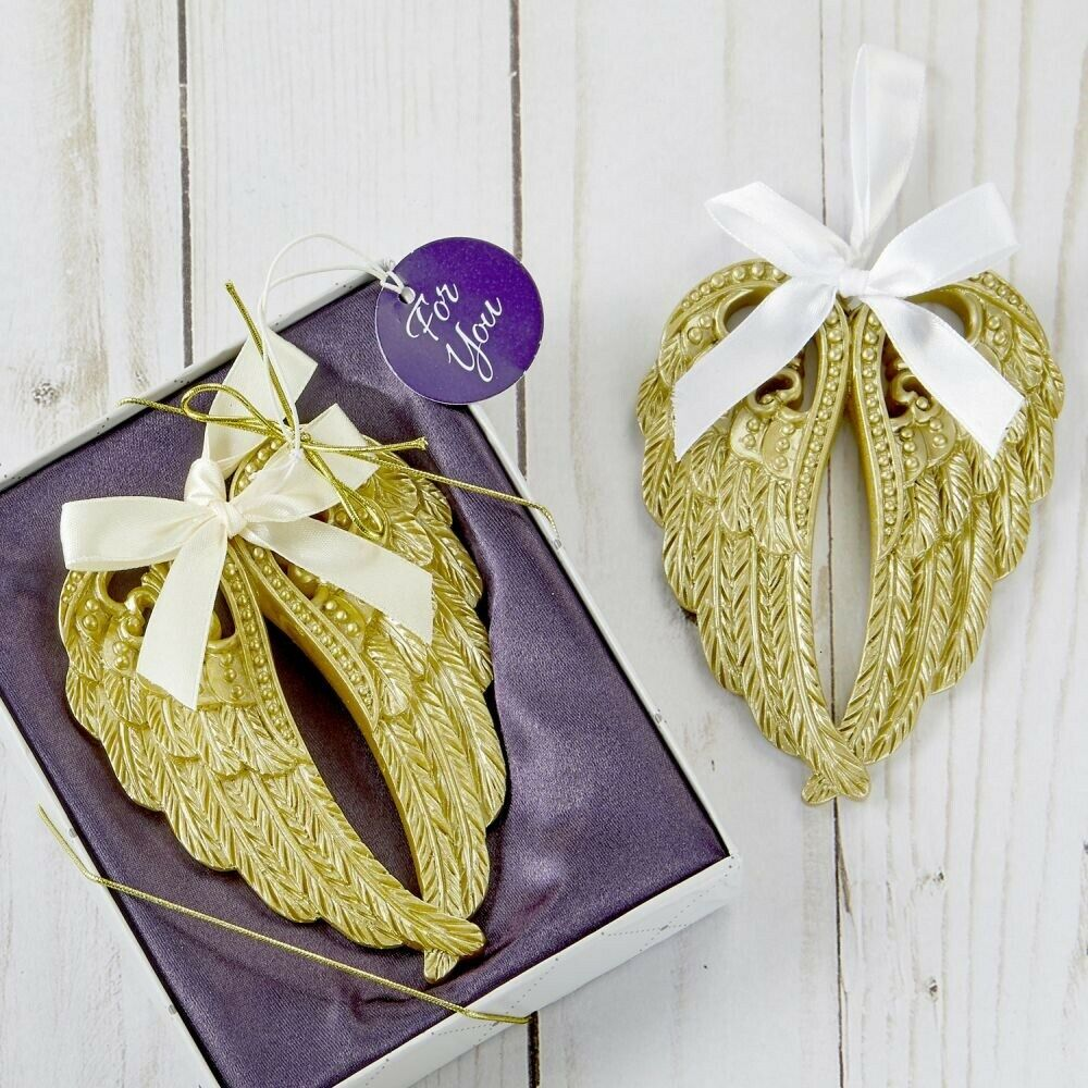 60 Soft Gold Texturot Angel Wings Hanging Ornament Religious Event Party Favors
