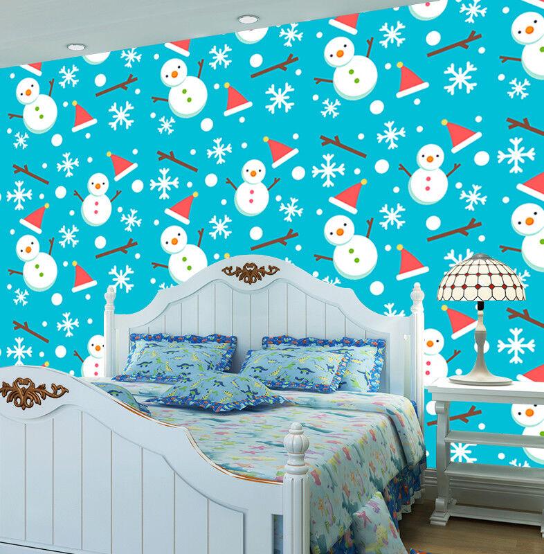 3D Blau Snowmans 87 Wall Paper Murals Wall Print Wall Wallpaper Mural AU Kyra